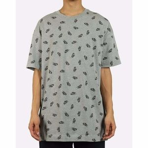 New Nike Sportswear AOP Tee T-Shirt Gray Size XL